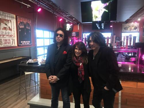 Grand Opening of Rock n Brews in Chesterfield.  Shown are Gene Simmons, Kara Savio and Paul Stanley from the rock band Kiss