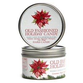Traditional Tins with Old Fashioned Holiday Candy by Butterfields Candy
