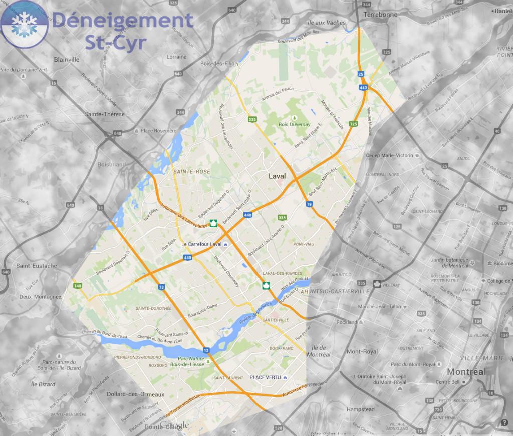 Carte Deneigement St-Cyr - Montreal - Laval - Deneigement Commercial - Déneigement parcs industriels