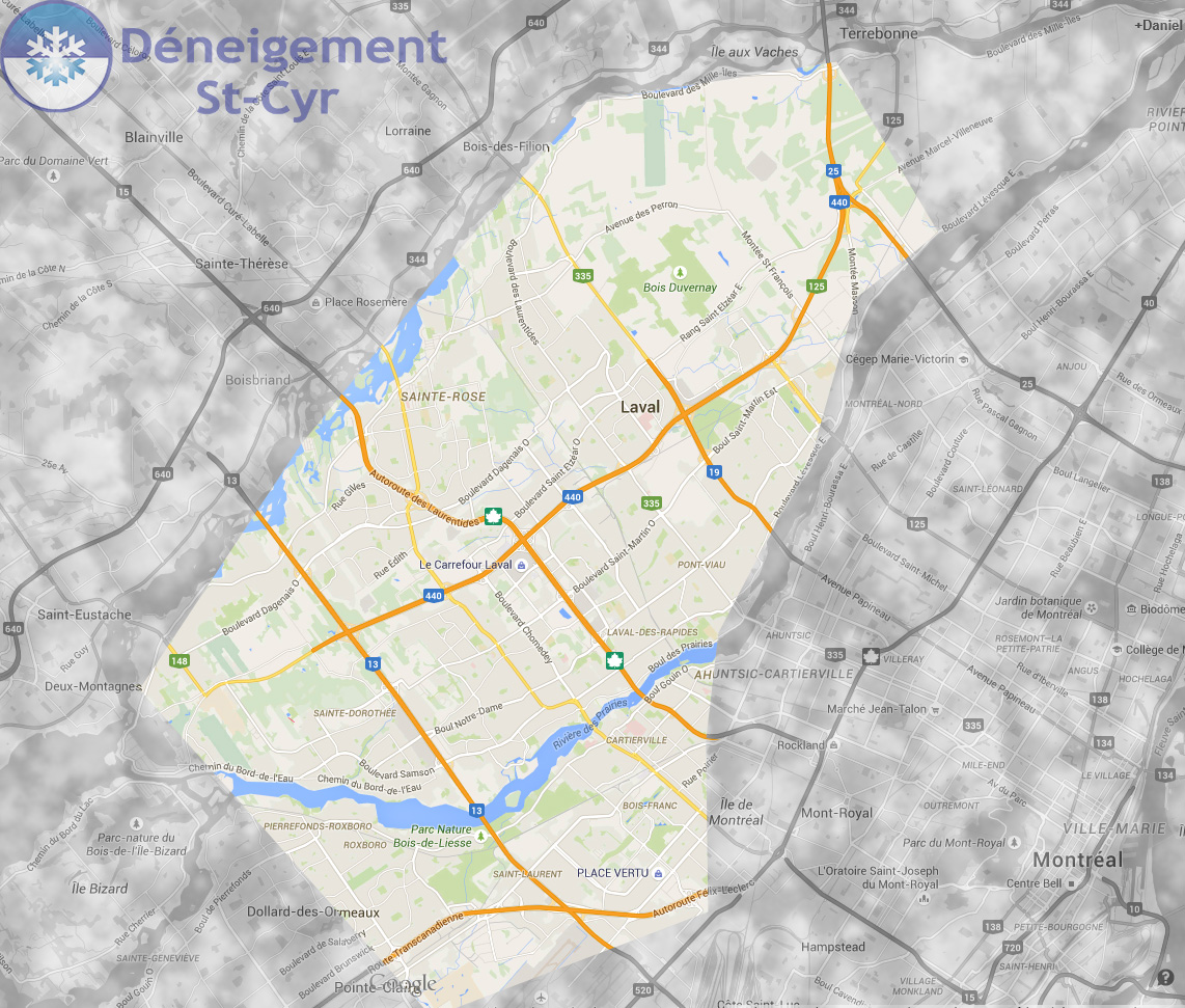 Map of territory serviced by Deneigement St-Cyr - Montreal - Laval - Commercial snow removal