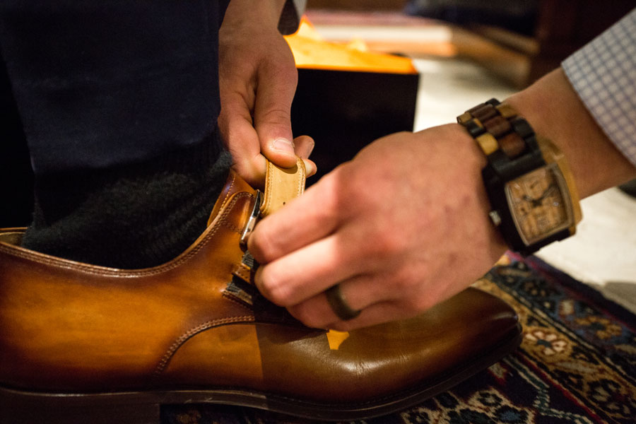 Shoes & Belts - shoes being fastened