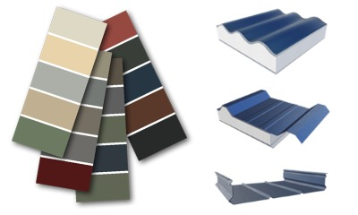 Examples of steel roof styles and colour options.