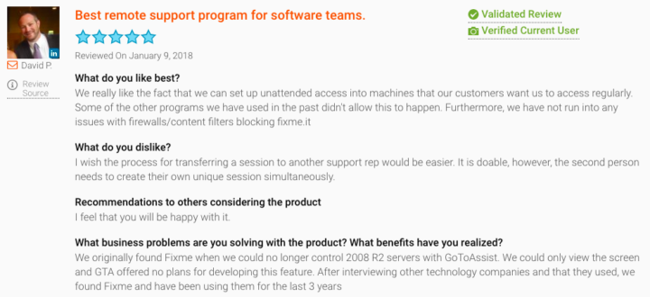 GoToAssist Alternative: Review of FixMe.IT on G2Crowd