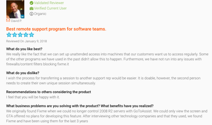 FixMe.IT customer review on G2Crowd