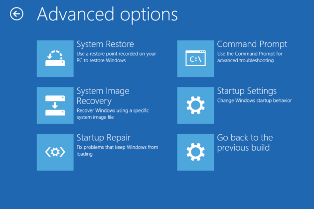 Windows 10 recovery advanced options