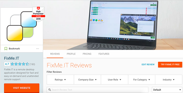 FixMe.IT Featured in Top-3 Highest Rated Remote Support Software on G2Crowd