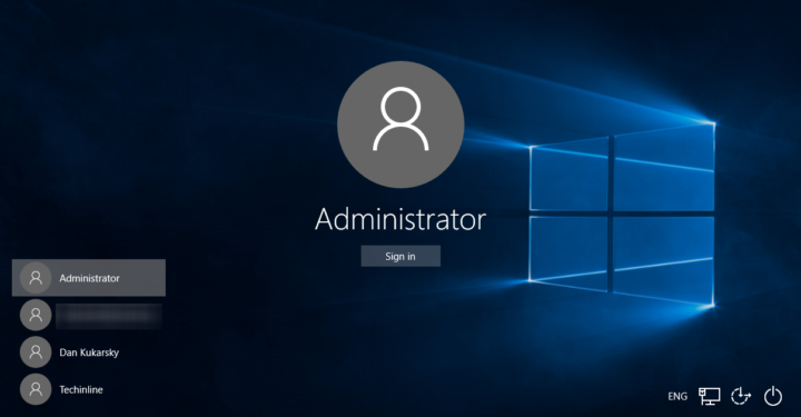 Enable built-in administrator account Windows 10