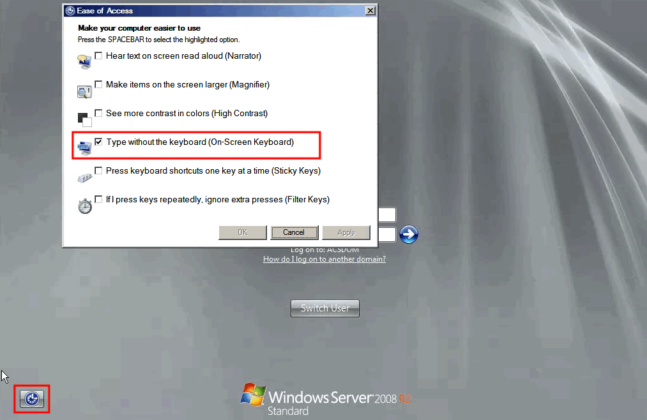Keyboard Not Working at the Remote Login Screen on Windows Server 2008