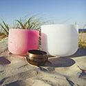Bowls on sandy beach