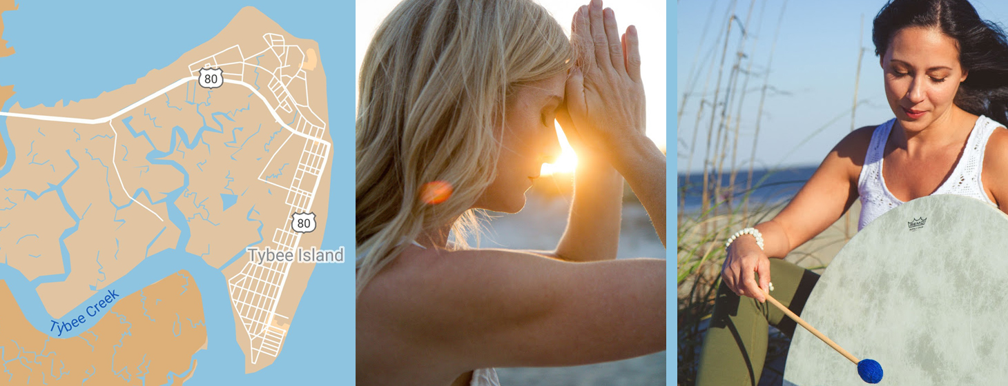 Composite image of Tybee Island map, woman meditating, and woman tapping drum