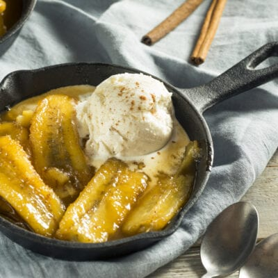 Homemade Grilled Bananas Foster with Ice Cream