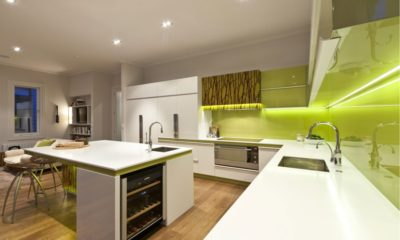 35 White Kitchen with Green Effects