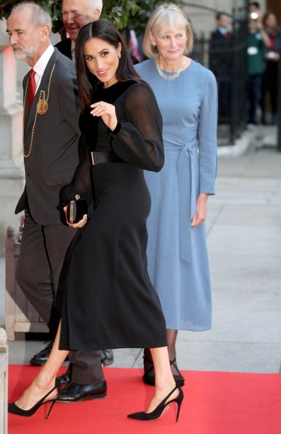 Meghan Markle Wears Black Givenchy for Oceania Exhibit