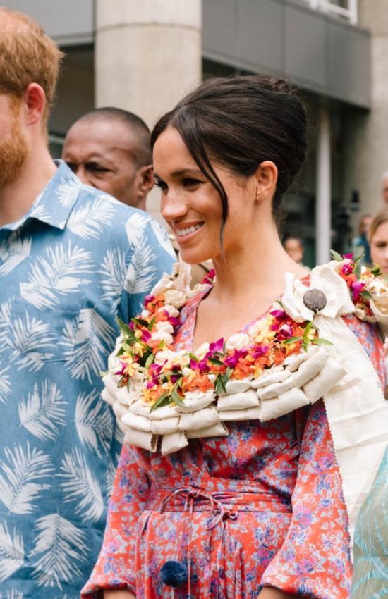 Royal Tour Day 9: Meghan Wears Figue Pom Pom Dress