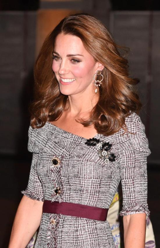 Kate Middleton in Erdem Tweed Dress at V&A Museum
