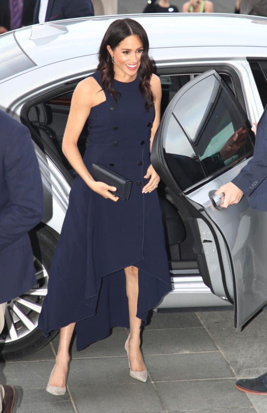 Royal Tour Day 15: Meghan tries Rain Boots for Welly Wanging and Looks Chic in Navy Button Berardi Dress