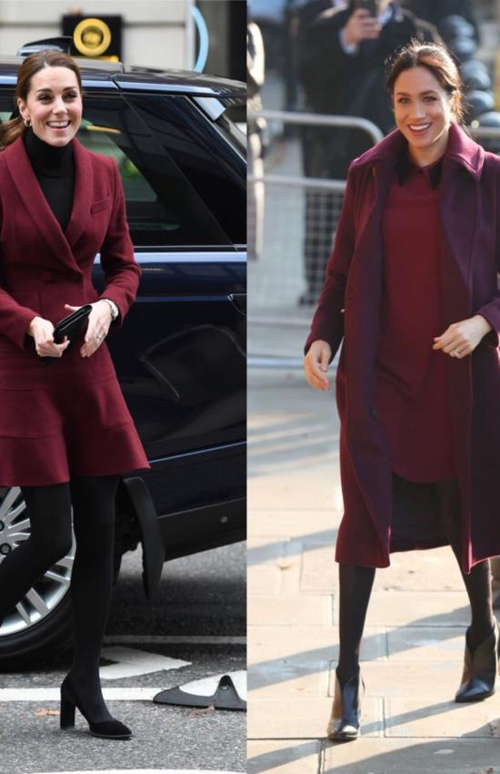 Duchess Day Out! Meghan and Kate in Burgundy for Unannounced Engagements