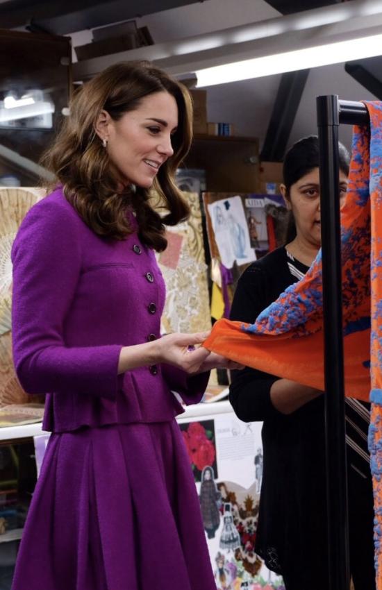 The Duchess of Cambridge in Purple Oscar de la Renta for Visit to Royal Opera House