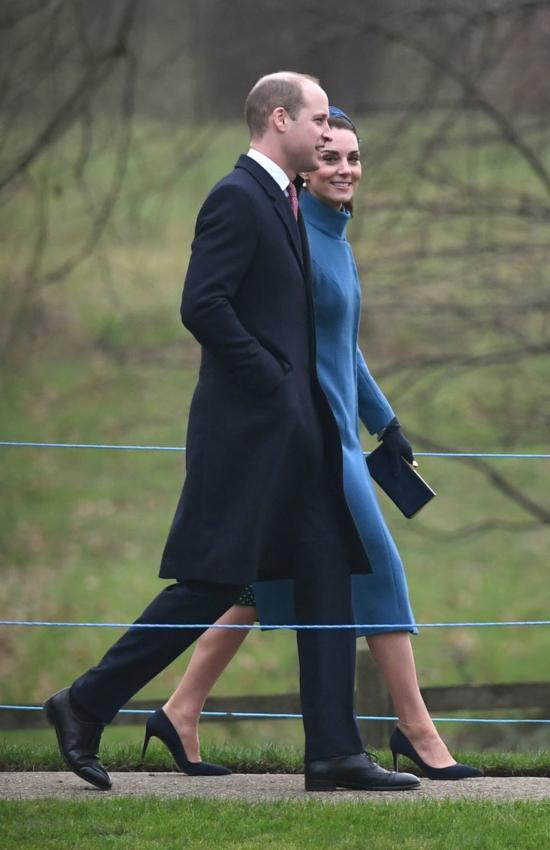 Kate Middelton in Blue Catherine Walker Coat for Church with the Queen
