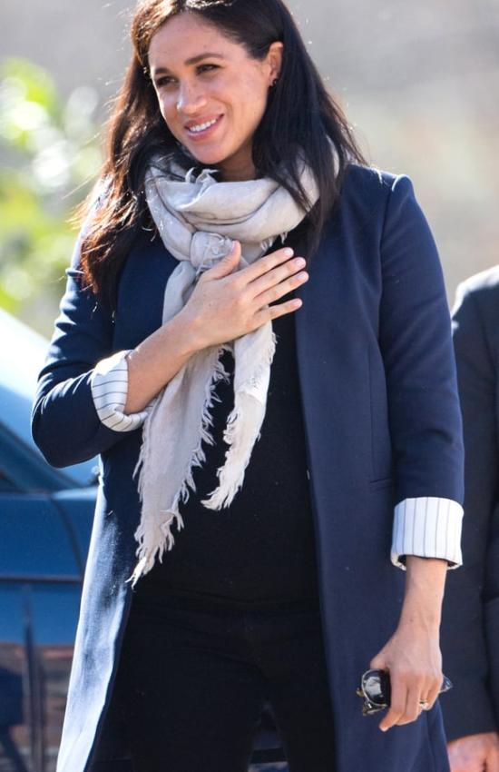 Meghan Markle in a Blue Blazer and Slippers for Second Day in Morocco