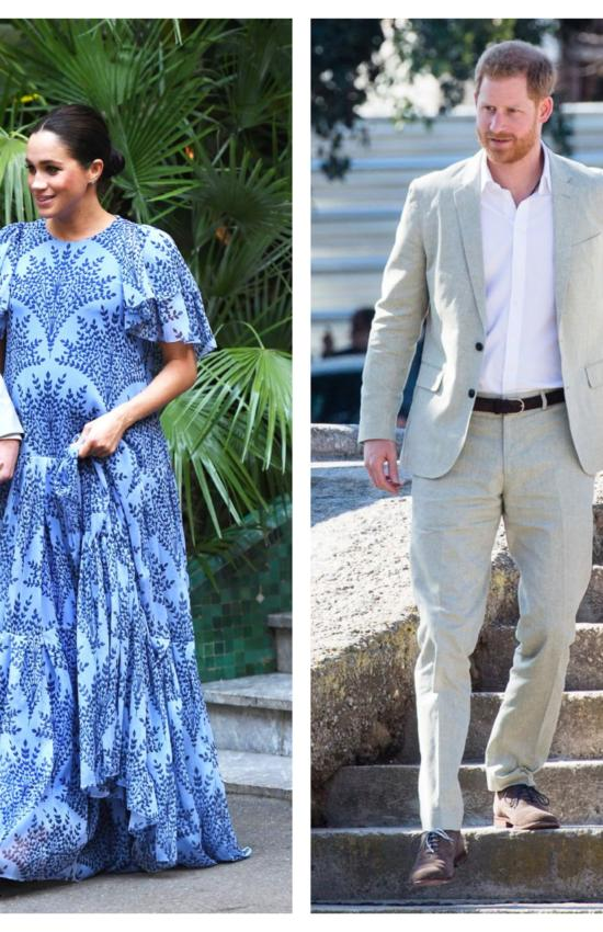 Meghan Markle in Loyd Ford Pleated Dress and Floral Carolina Herrera for Final Day in Morocco
