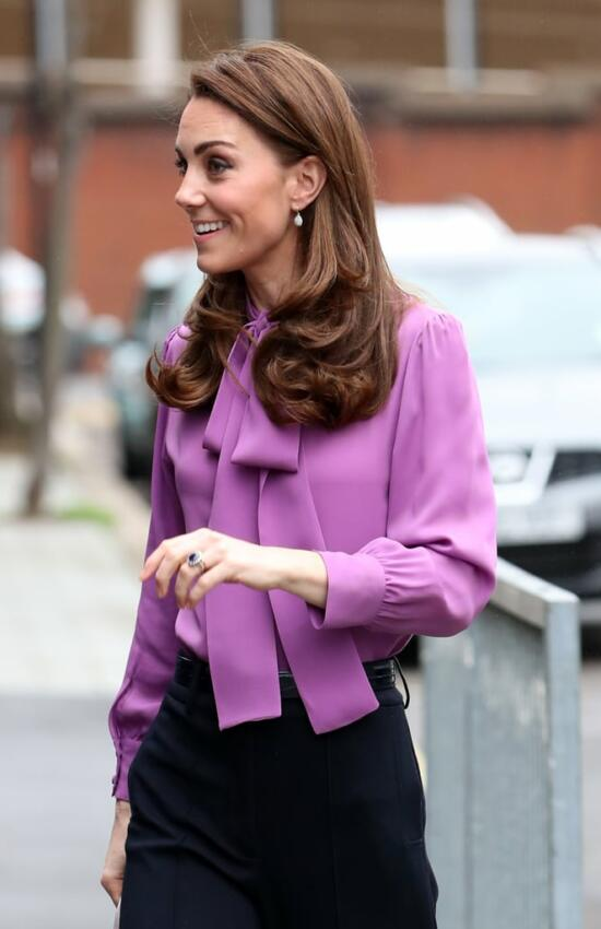 The Duchess of Cambridge in Purple Gucci Blouse for Solo Engagement