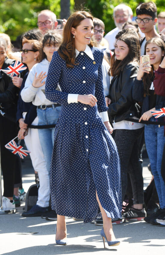 The Duchess of Cambridge in Polka Dots for Visit to Bletchley Park