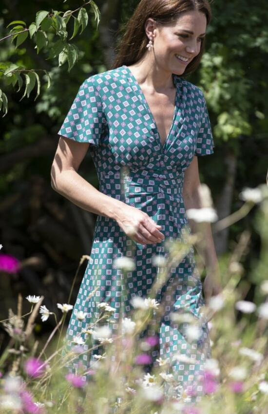 Duchess of Cambridge in Printed Midi for Picnic in Back to Nature Garden