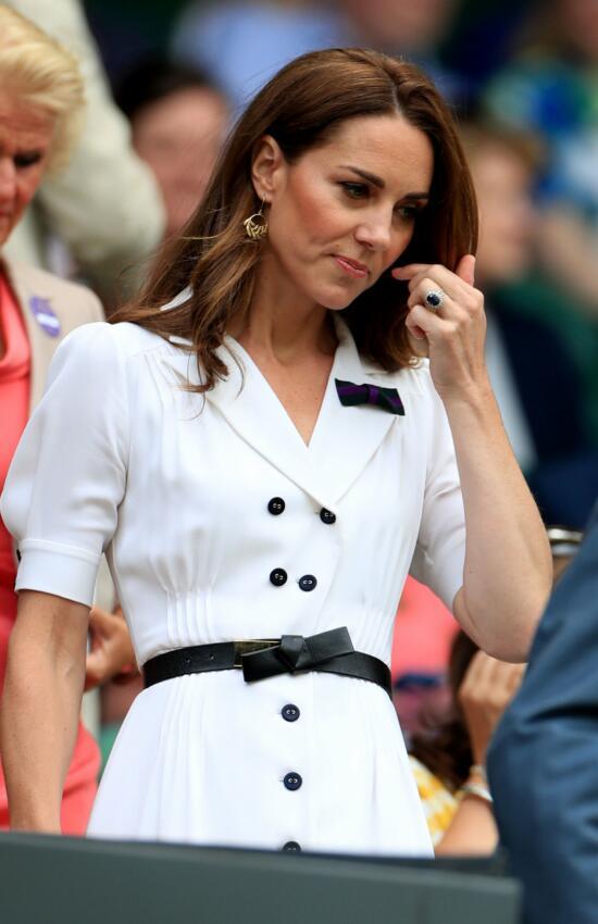 Kate Middleton in White Shirtdress for Day 2 of Wimbledon