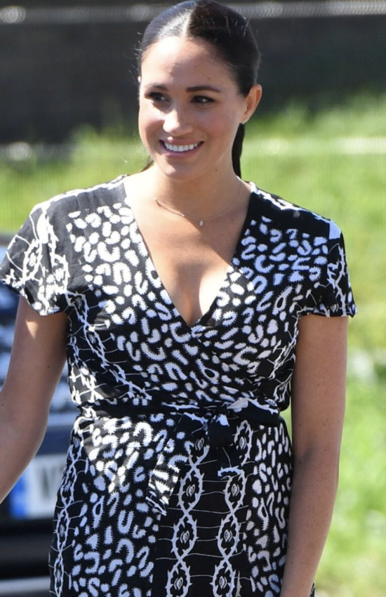 Meghan Markle Wears Printed Maxi for Visit to Nyanga