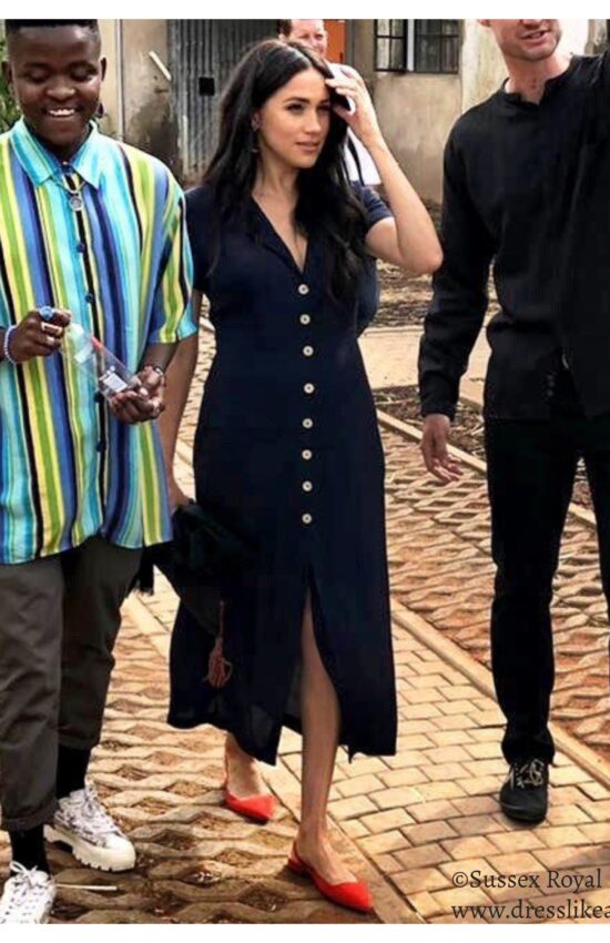 Meghan Markle in Navy Aritzia Midi Dress for Solo Engagement