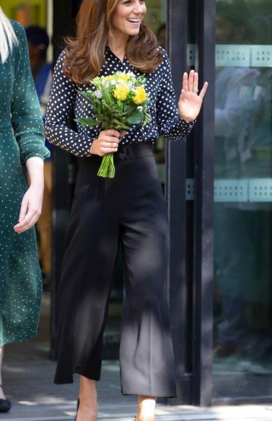Duchess of Cambridge in Polka Dots for Children's Centre Visit