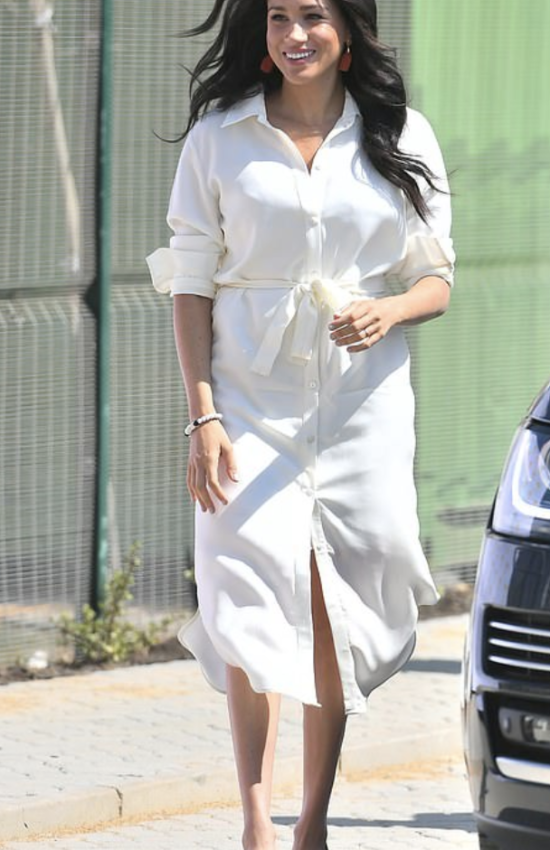 Meghan Markle in White Tencel Shirt Dress for Final Day of Royal Tour of Southern Africa