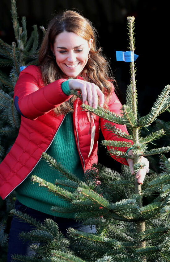 Duchess of Cambridge in Red Puffer Coat for Visit to Christmas Tree Farm