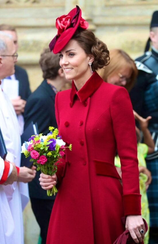 Duchess of Cambridge in Red Catherine Walker for Commonwealth Day