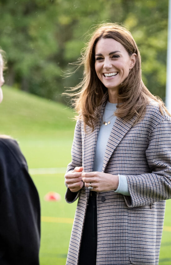 Kate Middleton Meets University Students in a Fall Friendly Checked Coat