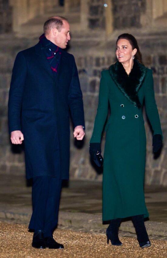 Kate Middleton in Fur Trimmed Green Catherine Walker Coat for Christmas at the Castle