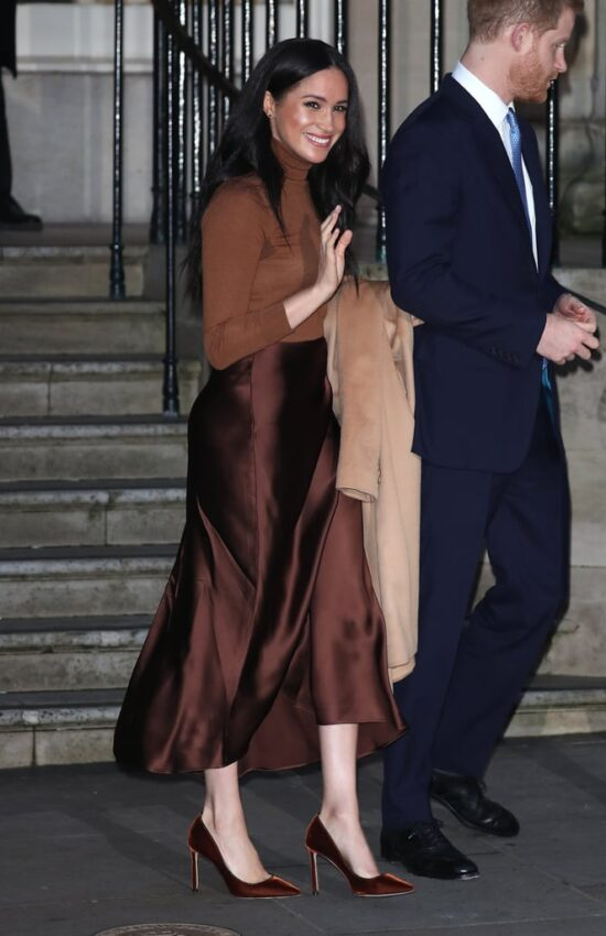 Recreate Meghan Markle's Royally Chic Satin Skirt Look on a Budget