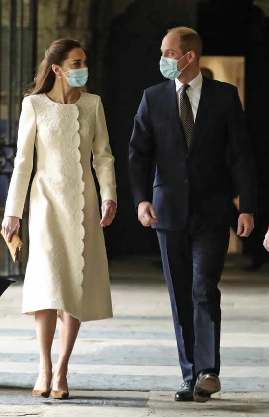 Kate Middleton in Ivory Dress Coat for Visit to Vaccine Center at Westminster Abbey