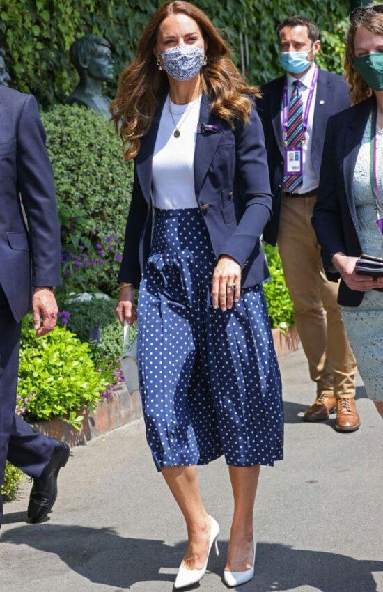 Kate Middleton in Polka Dot Skirt for Wimbledon Championship Tennis
