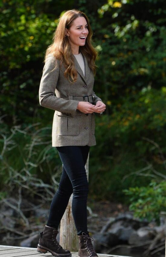 Kate Middleton in Country Chic Plaid Jacket for Visit to Cumbria