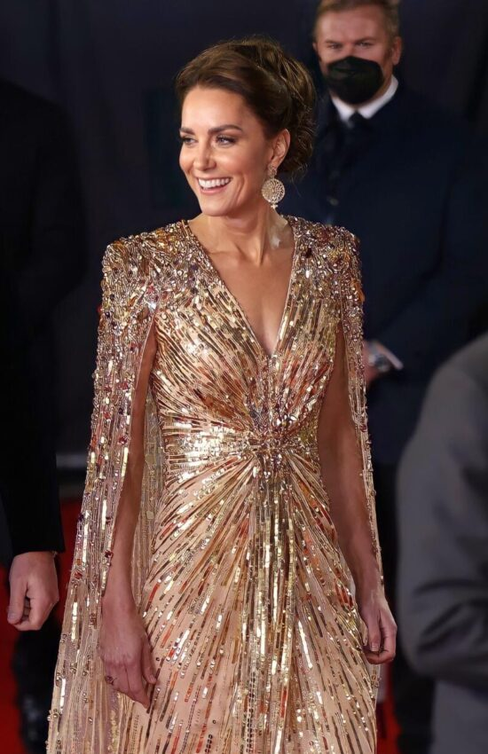 Kate Middleton Shines in Gold Sequin Jenny Packham Dress for James Bond Premiere