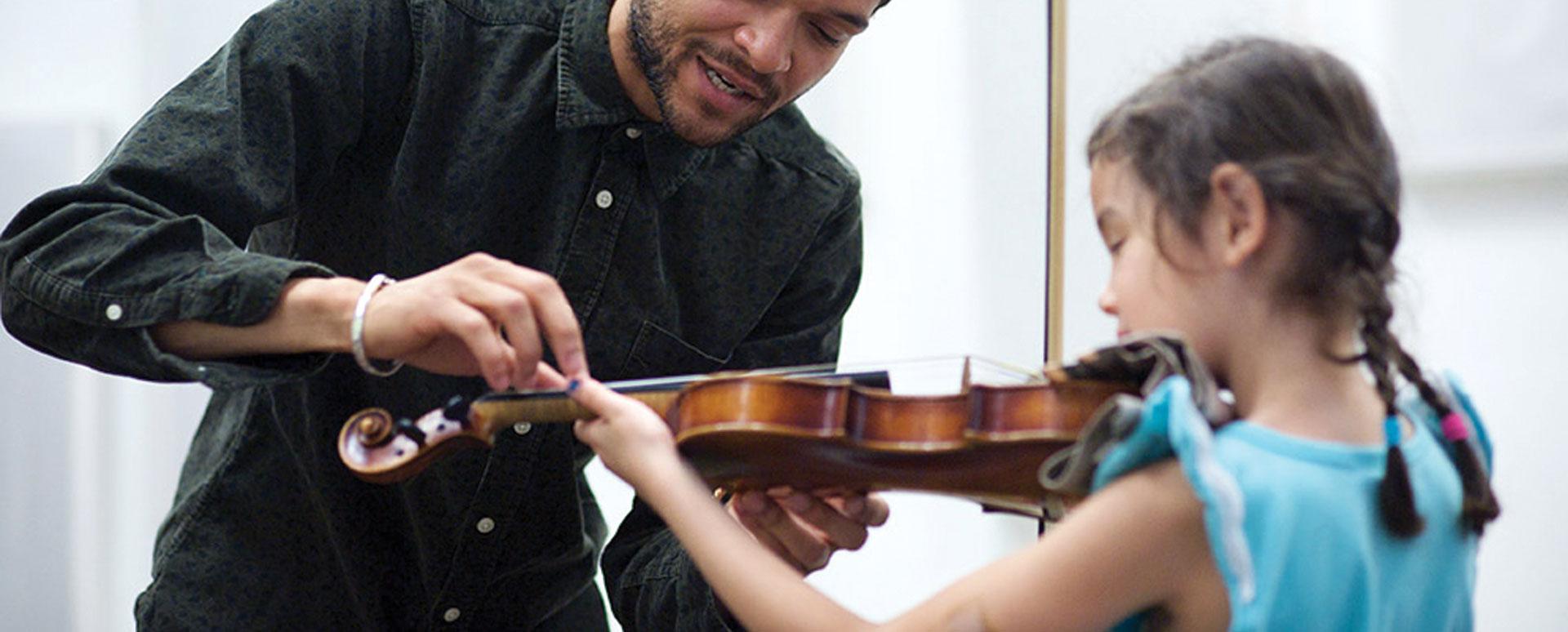 Child's violin lesson