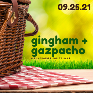 picnic basket on red and white gingham cloth announcing September 25 as date for Gingham & Gazpacho event