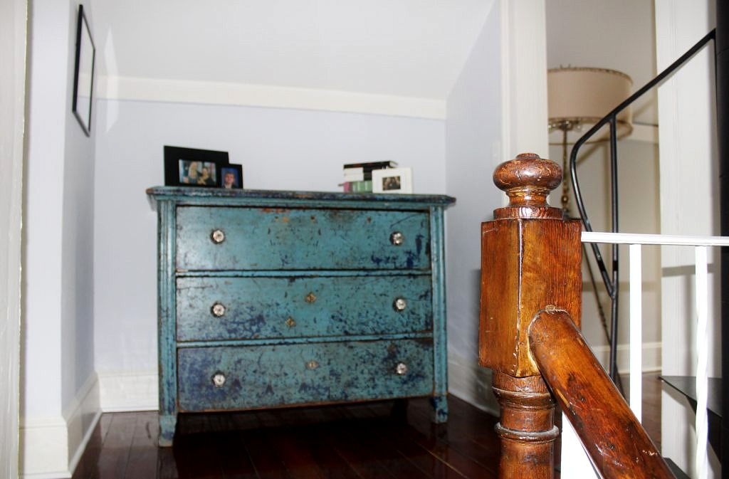Antique Chest of Drawers in Original Paint from British Cottage