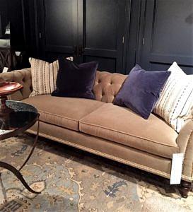 Chesterfield Sofa, Velvet Sofa, Hickory White Upholstery