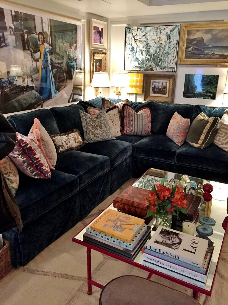 Navy Blue Sectional in the Philip Mitchell Kips Bay Showhouse