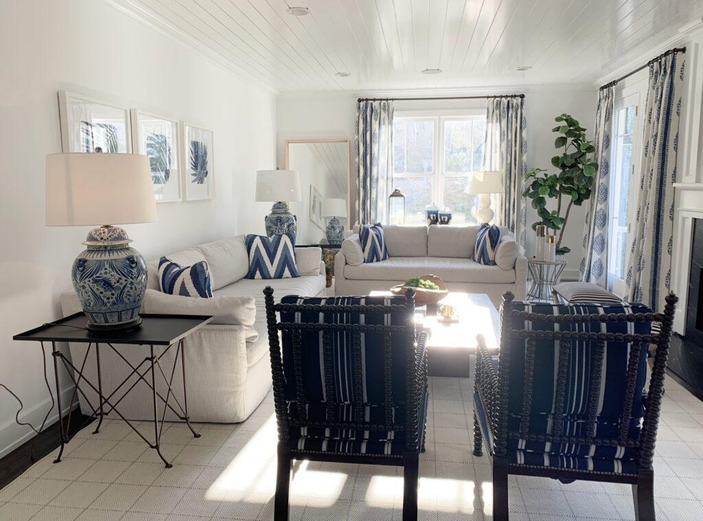 Fair Haven NJ family room, blue and white family room, British Cottage