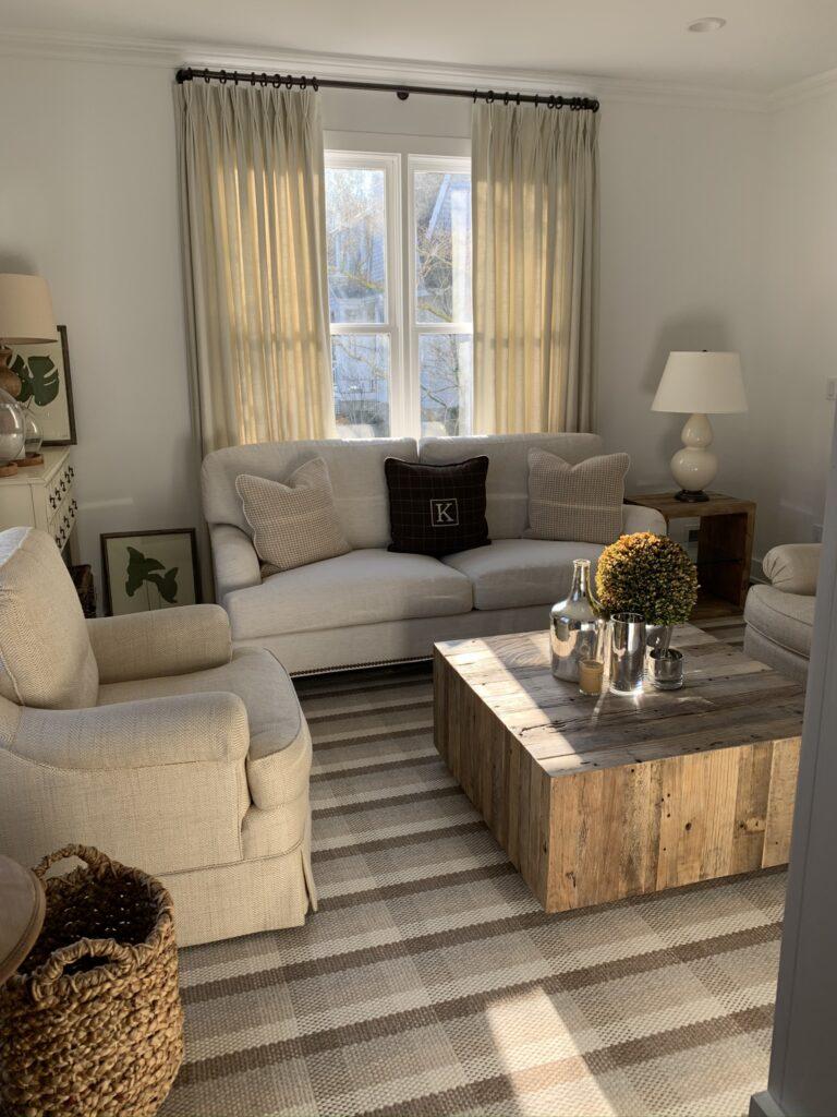 Century Cornerstone sofa, Fair Haven, NJ, rustic coffee table