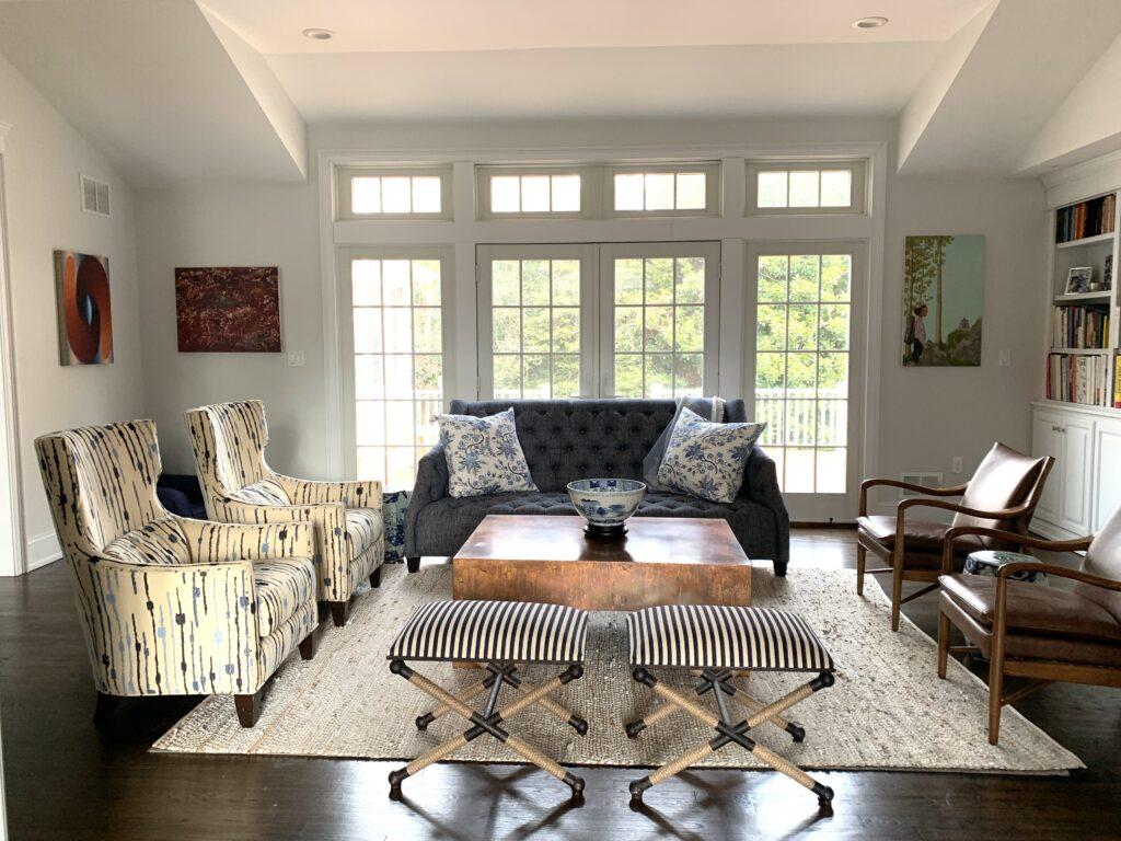 Mid-century Leather chairs, British Cottage, Rumson, NJ, living room furniture, navy blue sofa